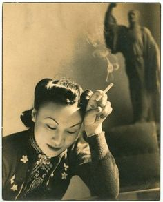 Shanghai, 1930s qipao dress embroidered floral women's vintage fashions style portrait photo print rolled hairstyle late 30s War Era WWII cheongsam Asian Chinese China Ethic