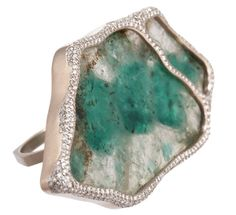 Monica Pean -emerald slice and diamond ring.