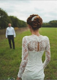 Elegant Lace High Collar Sheath Wedding Dress