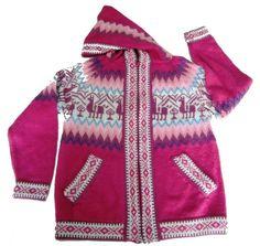 Mädchen Kinder Kapuzen #Strickjacke #Alpakawolle Inka Design 2 - 6 Jahre