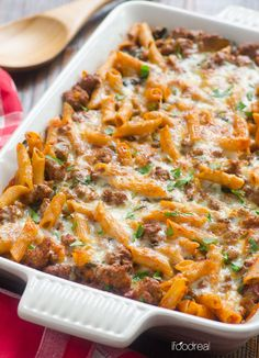 Turkey Pasta Bake is a casserole recipe made healthy with ground turkey, whole wheat pasta, kale or spinach, and tomato sauce.   ifoodreal.com