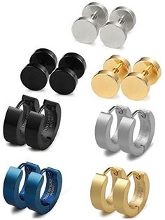 Jstyle Stainless Steel Mens Womens Stud Earrings Hoop Earrings for Men 7 Pairs