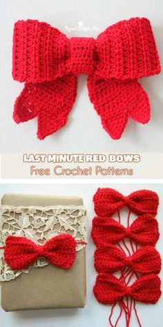 Last Minute Red Bows for Christmas Decorations and Gifts Wrapping Free Patterns . Last Minute Red Bows for Christmas Decorations and Gifts Wrapping Free Patterns Last Minute Red Bow Crochet Christmas Decorations, Crochet Decoration, Christmas Crochet Patterns, Holiday Crochet, Crochet Gifts, Crochet Christmas Gifts, Crochet Ornaments, Crochet Snowflakes, Crochet Bows Free Pattern