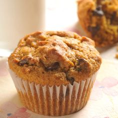 Pumpkin Chocolate chip muffins...these smelled SO good coming out of the oven.  Swapped 1/2 the oil for buttermilk, one of the eggs for an egg white and added 1tsp vanilla
