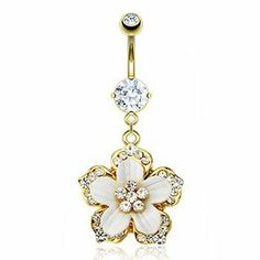 "14K gold plated belly ring with dangling jeweled flower Ms.Piercing Belly Button Ring. $12.99. Length: 7/16"" (11mm). Material: cubic zirconia. Gauge: 14. Material: 14K Gold Plated 316L Surgical Stainless Steel. Material: swarovski crystals"