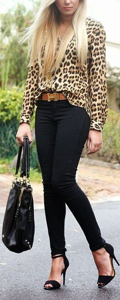 Leopard Top, Skinny Jeans & Sandals ❤︎ #streetstyle
