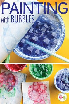 Looking for new art activities for kids? Bubble painting is a fun process art activity for your kids in preschool, pre-k and kindergarten classroom. Check out these tips and tricks. There are many opportunities to explore and experiment.a fun opportu Bubble Painting, Bubble Art, Painting Art, Bubble Crafts, Salt Painting, Painting Process, Art Activities For Kids, Art For Kids, Art Children