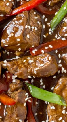 Better and healthier than takeout! Asian Recipes, Beef Recipes, Cooking Recipes, Sesame Beef, Sesame Chicken, Chicken Stir Fry With Noodles, One Dish Dinners, Pork Dishes, Special Recipes