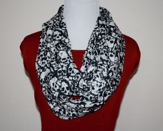 Skulls, Skulls and more Skulls Extra Long Infinity scarf by SassySkirtsForGals on Etsy