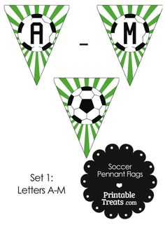 Green Soccer Pennant Banner Flag Letters A-M from PrintableTreats.com