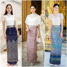 Myanmar Traditional Dress, Thai Traditional Dress, Traditional Fashion, Traditional Outfits, Stylish Blouse Design, Stylish Dress Designs, Gaun Dress, Dress Brokat, Modern Filipiniana Dress