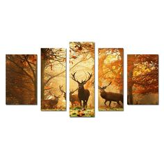 5 Pcs Canvas Wall Art Autumn Forest Oil Paintings Stretched Framed Ready To Hang #Abstract