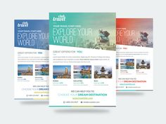 """Travel – Vacation Flyer Template is fully layered and very easy to edit template for any kind of travel business. Included 3 different color options. FEATURES: 3 Flyer Color Options 8.27"""" x 11.69"""" (210mm x 297mm) + 3mm bleeds Smart Object for Replace image Free Fonts Used Clean & Modern Design 300 DPI CMYK"""