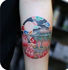 From traditional architecture done with . Mini Tattoos, Cute Tattoos, Unique Tattoos, Arm Tattoos, Beautiful Tattoos, Body Art Tattoos, Trash Polka, S Tattoo, Tattoo Girls