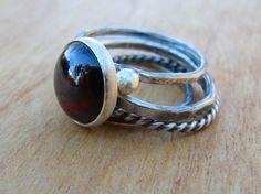 Large Garnet Silver Stacking Rings