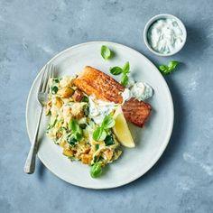 KHA Courgetstampp gegr zalm Breakfast, Recipes, Food, Zucchini, Salad, Morning Coffee, Recipies, Essen, Meals