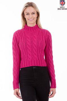 Vintage Aran - Hot Pink Womens Aran Jumper Wool Sweater   Sweateronline - Fine British Knitwear - Made in Great Britain