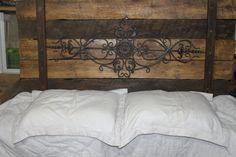 Wrought Iron Reclaim Wood Headboard by Reclaimvintagecharm on Etsy, $220.00