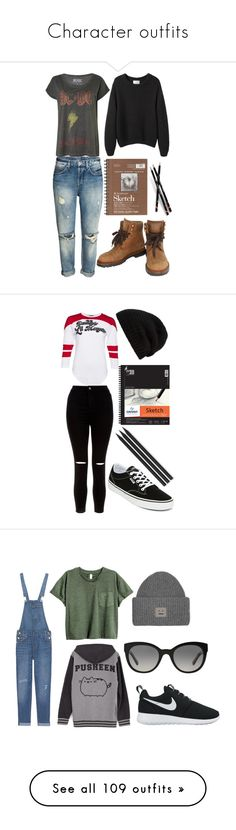 """""""Character outfits"""" by pip999 ❤ liked on Polyvore featuring Chanel, La Garçonne Moderne, New Look, Rick Owens, Universal, Vans, Faber-Castell, Levi's, Pusheen and NIKE"""