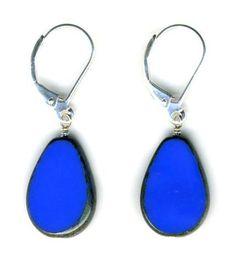 Glass Teardrop Earrings, Periwinkle- Stefanie Wolf