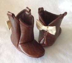 Baby Cowboy Boots Leather with Bows CHOOSE your leather by 2Fab