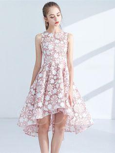 #Spring #AdoreWe #TBDress - #TBDress A-Line Lace Jewel Asymmetry Zipper-Up Homecoming Dress - AdoreWe.com