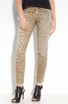 Current/Elliott 'The Stiletto' Leopard Print Stretch Jeans (Camel Leopard Wash)