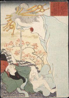 In this magnificent series called 'Ghost Stories: Night Procession of the Hundred Demons (Kaidan hyakki yagyô' the artist Utagawa Kuniyoshi disp Japanese Mythology, Japanese Folklore, Japanese Geisha, Japanese Drawings, Japanese Prints, Japanese Artwork, Japanese Monster, Kuniyoshi, Japan Art