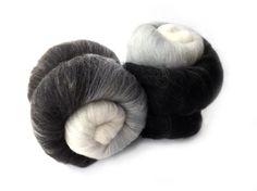 Spinning batt - Gradient - black - white - grey - 100g - 3.50z - Merino - SILENT MOVIE