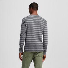 Men's Striped Long Sleeve Henley Charcoal S - Merona, Ebony