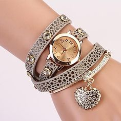 C&D Fashion Women Dress Watches Heart-shaped Diamond Pendant Leather Strap Watches XK-73 - USD $ 39.90
