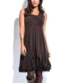 Love this Cicero Brown Ruffle Shift Dress by Cicero on #zulily! #zulilyfinds