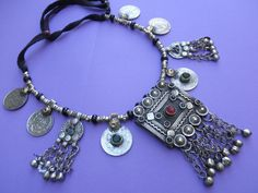 Afghanistan   Tribal metal and glass necklace   79 Euro