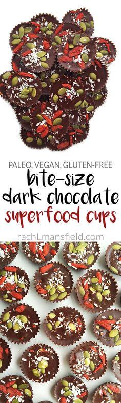 Easy Bite-Sized Vegan Dark Chocolate Superfood Cups packed with essential superfoods like goji berries, coconut flakes & pumpkin seeds