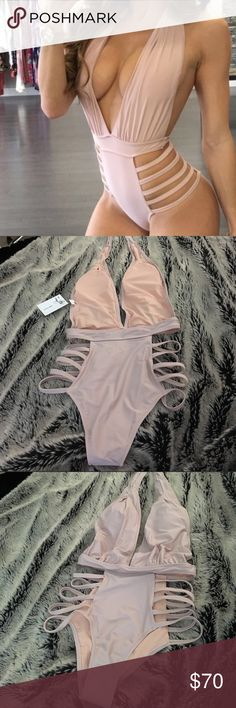 Dusky pink Monokini size S Reposh. Dusky Pink colored monokini size Small. Fits me perfectly and very sexy just not made for my body type (I'd say I'm more of a rectangle) Swim One Pieces