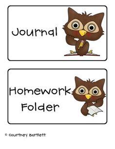 free--Owl Journal and Folder Labels freebie