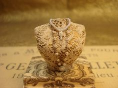 1:12 scale miniature O.O.A.K pretty lace bust gold and pearl necklace jewelry display on Etsy, $70.00
