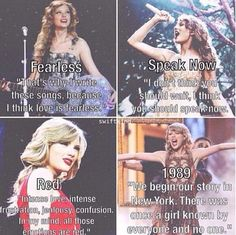 Fearless. Speak now. Red. 1989