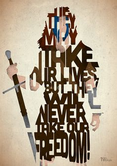 Braveheart - William Wallace typography art print poster based on by Typography Quotes, Typography Prints, Typography Poster, Lettering, Famous Movie Quotes, Film Quotes, Art Prints Quotes, Art Quotes, Quote Art