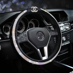 $62.28 Bling Chanel Diamond PU Leather Auto Car Steering Wheel Covers 15 inch 38CM - Black, Selected high-grade PU Leather, do not fall off, Inner ring using Natural rubber, Green, No stimulation, Non-Slip, Excellent breathability, pest control, sterilization, anti-static, Easy to clean, no deformation, high wear resistance, Four Seasons General.