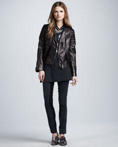Lambskin Leather Biker Jacket, Beaded Phoenix Tank & Ponte-Insert Corded Pants by 3.1 Phillip Lim at Neiman Marcus.