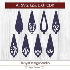 SVG, ai, CDR, eps - Leather Wooden jewellery - Leather earrings - Wooden earrings - Laser cut - Cutting File - Cricut - Silhouette - 003 by TanyaDesignStudio on Etsy Wooden Earrings, Wooden Jewelry, Leather Earrings, Leather Jewelry, Custom Jewelry, Handmade Jewelry, Leather Craft, Ruby Jewelry, Fall Jewelry