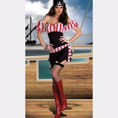 Red White Stripe Black Sleeveless Adult Pirate Costumes