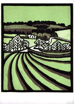 Suffolk landscape lino print green and brown £30.00