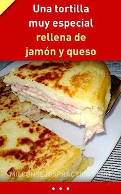 Uma tortilla muito especial recheada com presunto e queijo. - Uma tortilla muito especial recheada com presunto e queijo. Tortilla Rolls, Tortilla Pizza, Tortilla Recipes, Empanadas, Sin Gluten, Gluten Free, Buffet, Sandwiches, Easy Meals