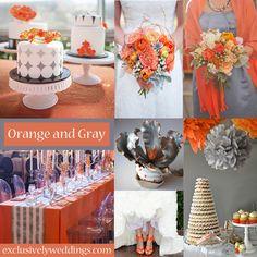 Orange and Gray Wedding Colors   #exclusivelyweddings
