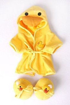 Duck Robe & Slippers Pajamas Outfit Teddy Bear Clothes Fit - Build-A-Bear, Vermont Teddy Bears, and Make Your Own Stuffed Animals - toy shop deal label Cute Baby Shoes, Cute Baby Clothes, Doll Clothes, Puppy Clothes, Pajama Outfits, Baby Boy Outfits, Kids Outfits, Vermont Teddy Bears, Cute Babies