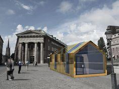 Conceptual sketch of a pavillion, Stockholm. Architectural contest, by Habel Betiyo, Alexander Bergh, Viktor Lindström