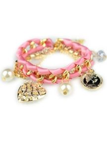 Pink Pendant Winding Multilayer Bracelet