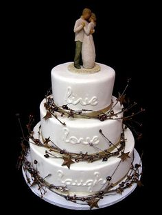 Primitive country wedding cake http://www.itinysoft.com/touches-of-country-wedding-cake-ideas/primitive-country-wedding-cake/